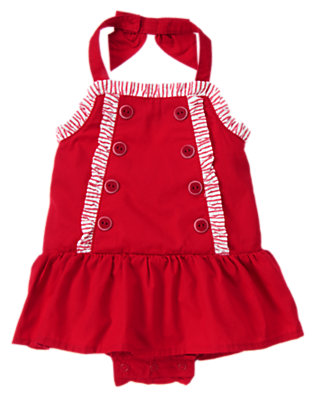 Baby Sailboat Red Button Ruffle Halter One-Piece by Gymboree