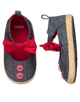 Baby Chambray Bow Chambray Crib Shoe by Gymboree
