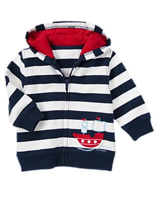 Baby Peacoat Navy Stripe Ship Stripe Hoodie by Gymboree