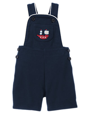 Peacoat Navy Embroidered Ship Overall by Gymboree
