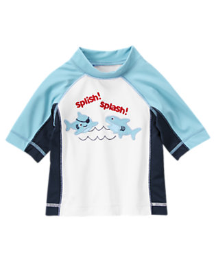 Baby White Pirate Shark Rash Guard by Gymboree