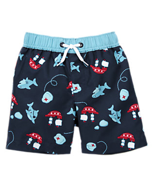 Baby Navy Shark Pirate Shark Swim Trunk by Gymboree