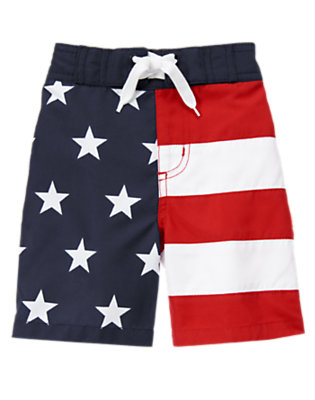 Toddler Boys True Red Stars & Stripes Swim Trunk by Gymboree