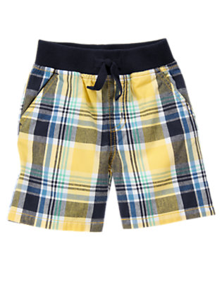 Sunny Yellow Plaid Pull-On Plaid Short by Gymboree