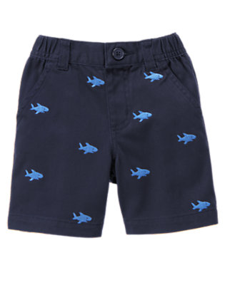 Deep Navy Shark Embroidered Short by Gymboree