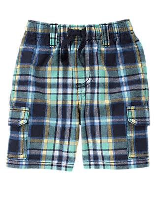 Deep Navy Plaid Pull-On Plaid Cargo Short by Gymboree