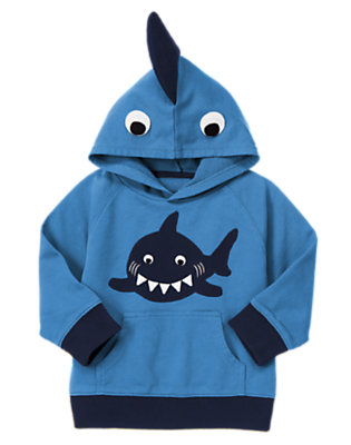 Ocean Blue Shark Fin Terry Hoodie by Gymboree
