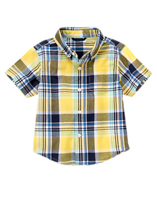 Sunny Yellow Plaid Pocket Plaid Shirt by Gymboree
