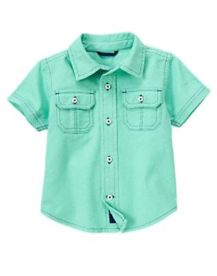 Aqua Green Button Pocket Linen Blend Shirt by Gymboree
