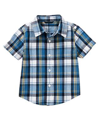 Toddler Boys Deep Navy Plaid Pocket Plaid Shirt by Gymboree