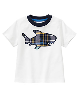 White Plaid Shark Tee by Gymboree