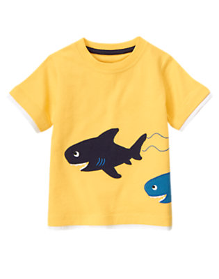 Sunny Yellow Swimming Sharks Tee by Gymboree