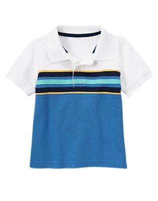 Ocean Blue Pieced Stripe Pique Polo Shirt by Gymboree