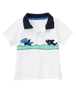 White Shark Pique Polo Shirt by Gymboree