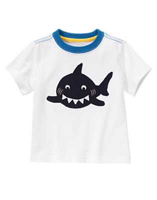 White Happy Shark Tee by Gymboree