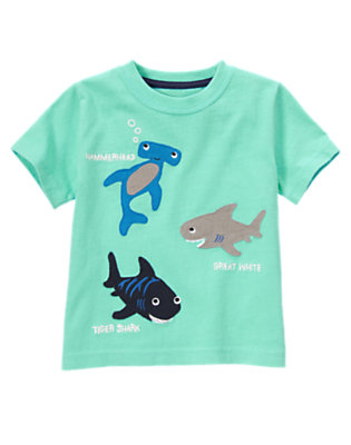 Aqua Green Shark Pals Tee by Gymboree