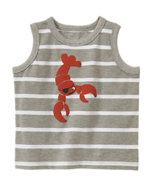 Heather Grey Stripe Pirate Lobster Stripe Tank by Gymboree