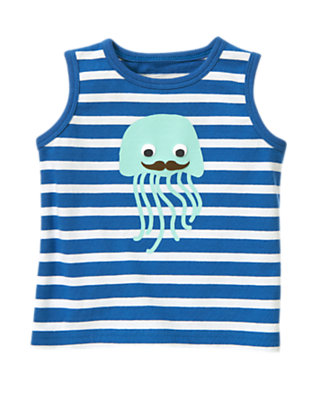 Ocean Blue Stripe Jellyfish Stripe Tank by Gymboree