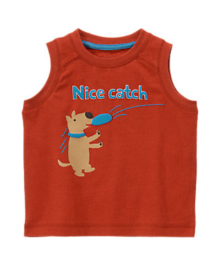 Summer Red Nice Catch Puppy Tank by Gymboree