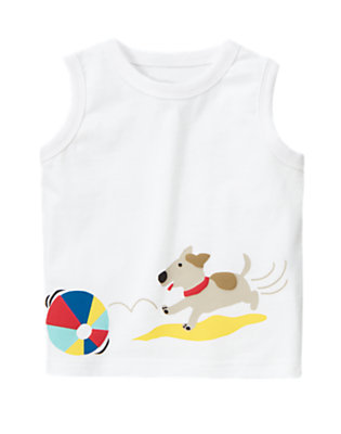 White Beach Ball Puppy Tank by Gymboree