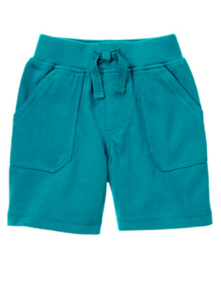 Teal Blue Ribbed Waist Knit Short by Gymboree