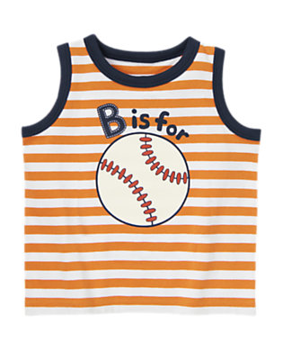 Orange Stripe Baseball Stripe Tank by Gymboree