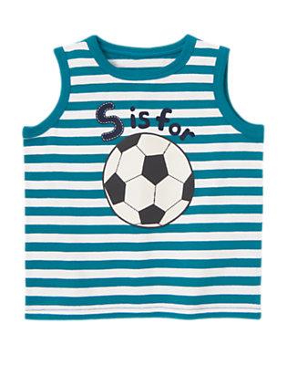 Teal Stripe Soccer Ball Stripe Tank by Gymboree