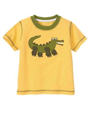 Golden Yellow Baby Gator Ringer Tee by Gymboree