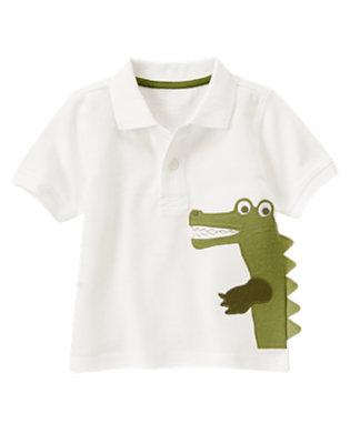 White Gator Pique Polo Shirt by Gymboree