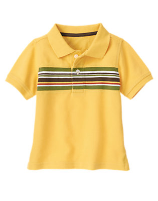 Golden Yellow Pieced Stripe Pique Polo Shirt by Gymboree