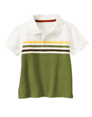 White Colorblock Stripe Pique Polo Shirt by Gymboree