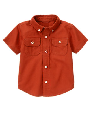 Desert Red Button Pocket Linen Blend Shirt by Gymboree