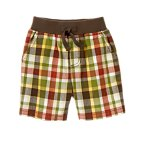 Ribbed Waist Plaid Short