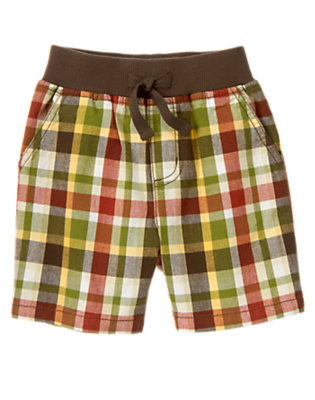 Gator Green Plaid Ribbed Waist Plaid Short by Gymboree