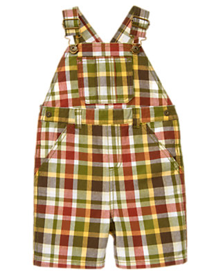 Gator Green Plaid Plaid Shortall by Gymboree