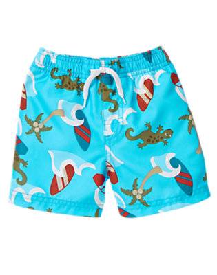 Toddler Boys Turquoise Gecko Surfer Swim Trunk by Gymboree