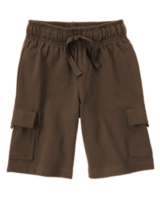 Boys Chocolate Brown Drawstring Knit Cargo Short by Gymboree
