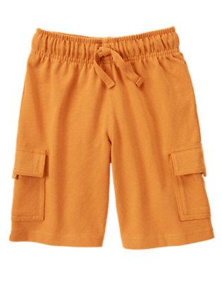 Orange Ochre Drawstring Knit Cargo Short by Gymboree