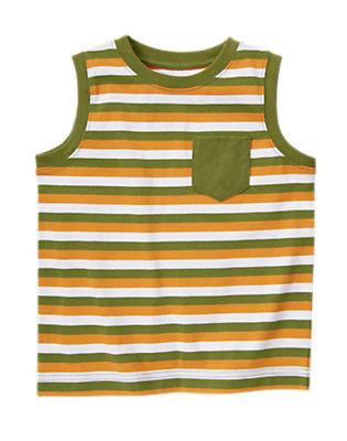 Gator Green Stripe Pocket Stripe Tank by Gymboree