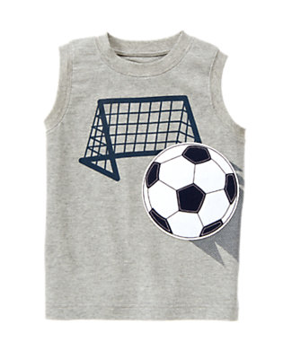 Light Heather Grey Soccer Goal Tank by Gymboree