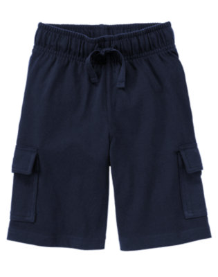 Boys Deep Navy Knit Cargo Active Short by Gymboree