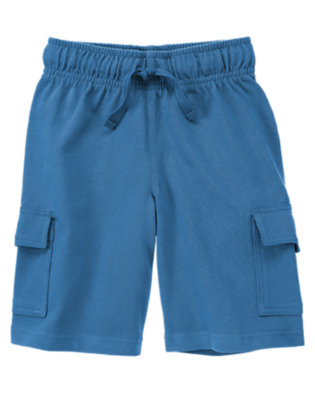 Ocean Blue Knit Cargo Active Short by Gymboree