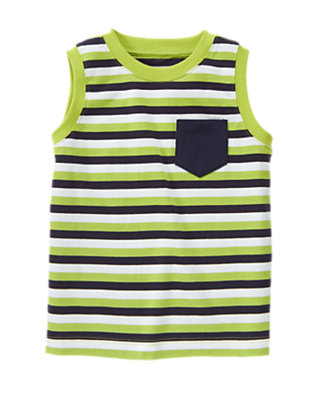 Chartreuse Stripe Stripe Pocket Tank by Gymboree