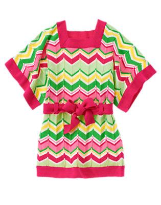 Girls Island Pink Stripe Belted Wavy Stripe Sweater by Gymboree