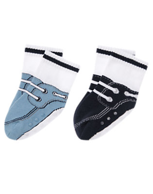 Whale Blue/Navy Sneaker Sock Two-Pack by Gymboree