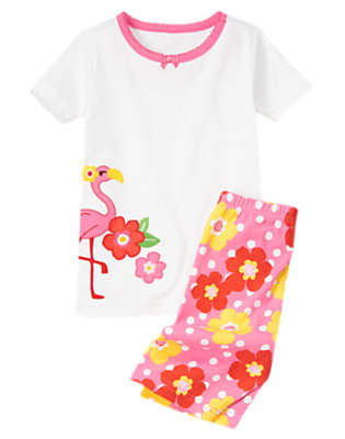Flamingo Pink Flamingo Flower Shortie Two-Piece Gymmies® by Gymboree
