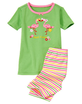 Tropical Green Flamingo Friends Shortie Two-Piece Gymmies® by Gymboree