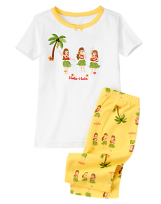 Pineapple Yellow Hula Girls Shortie Two-Piece Gymmies® by Gymboree
