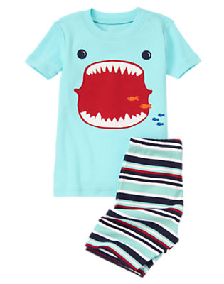 Light Blue Shark Mouth Shortie Two-Piece Gymmies® by Gymboree
