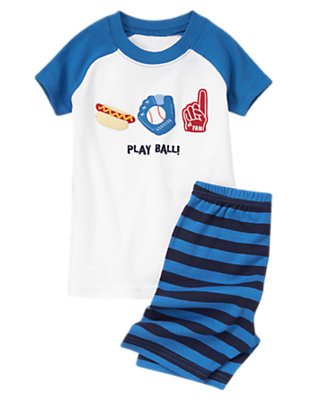 Toddler Boys Baseball Blue Play Ball Shortie Two-Piece Gymmies® by Gymboree